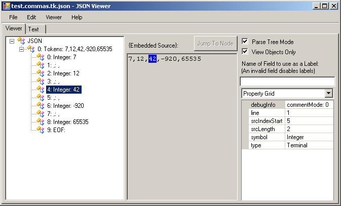 Lexer Result in JsonViewer