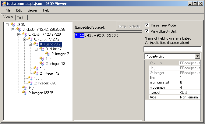Parser Result in JsonViewer